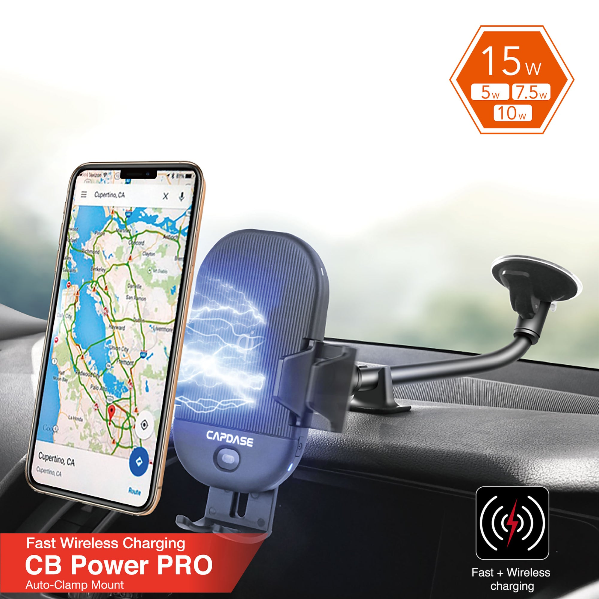 CB Power Pro Fast Wireless Charging Auto-Clamp Car Mount Gooseneck Arm 300mm