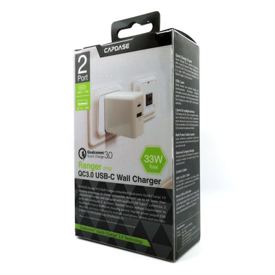 RANGER 2P33B QC3.0 and USB-C Wall Charger with Cable Kit (EU Plug)