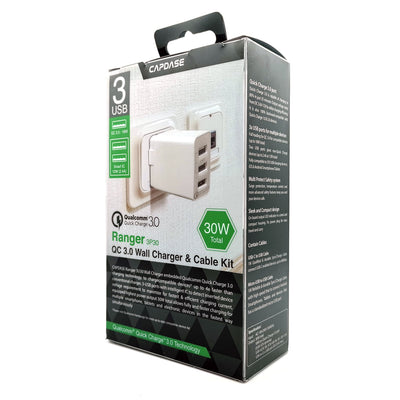 RANGER 3P30B QC3.0 Wall Charger with Cable Kit (EU Plug)