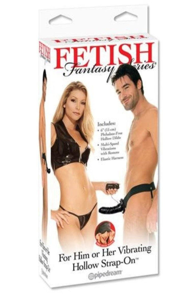For Him Or Her Vibrating Hollow Strap-On-Black