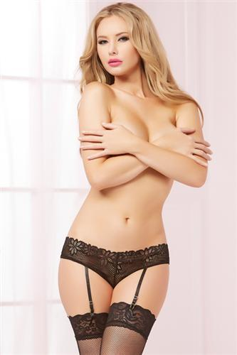 Floral Galoon Lace Open Crotch Panty With Garters