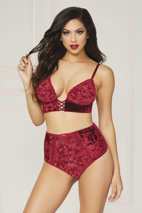 Seven til Midnight Wine Velvet & Mesh Bralette With Strappy Back Pants Set