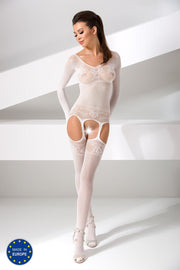 Long Sleeve Rose Lace Suspender Bodysuit