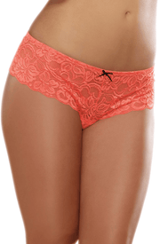 Coral Lace Open Crotch Boyshort 10-24