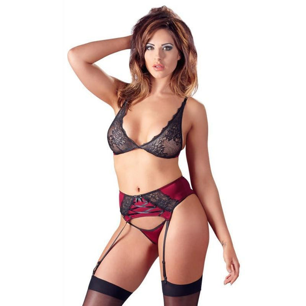 Cottelli Collection Lace Bra and Suspender Set