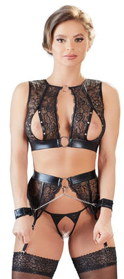 Wetlook and Lace Suspender Set With Cuffs