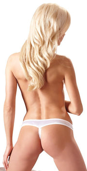 Open Crotch White Lace Thong - Plus Size