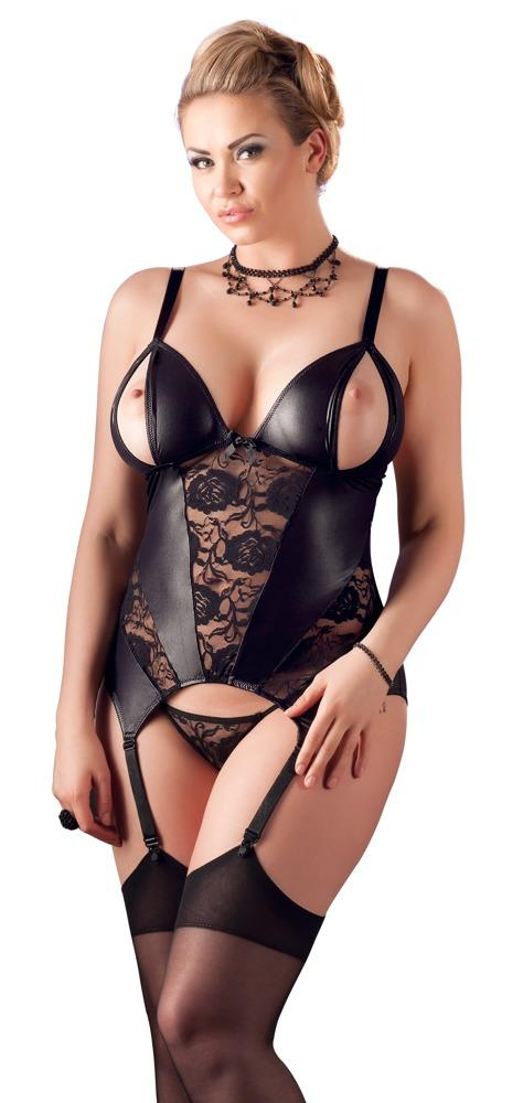 Wet Look Open Cup Basque Set - Plus Size