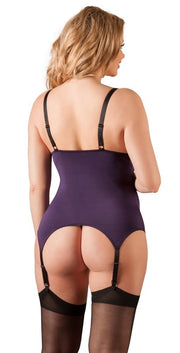 Purple Lace Basque Set - Plus Size