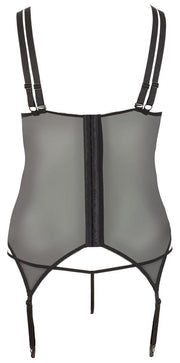 Satin & Lace Removable Cup Basque - Plus Size