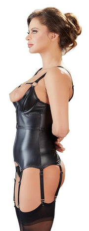 Wetlook Suspender Basque With Cuffs