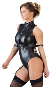 Faux Leather Zip Body With Restraints and Suspenders