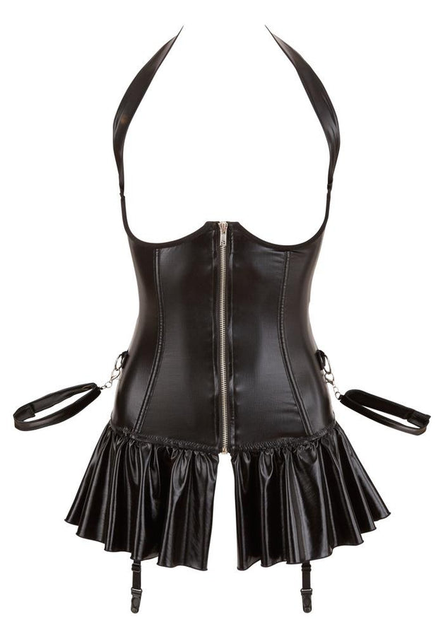 Faux Leather Open Cup Skirted Suspender Basque