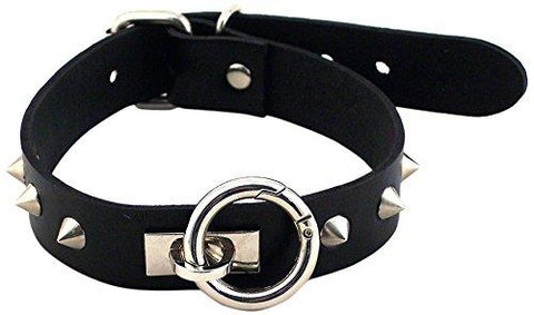Scandals Bondage Leather O-Ring Studded Collar