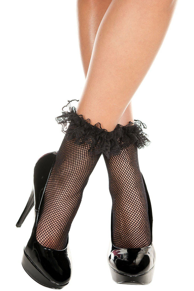 Fishnet Lace Ruffle Ankle Hi-Sock