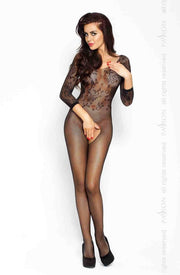 Floral Lace & Fishnet Full Coverage Bodystocking