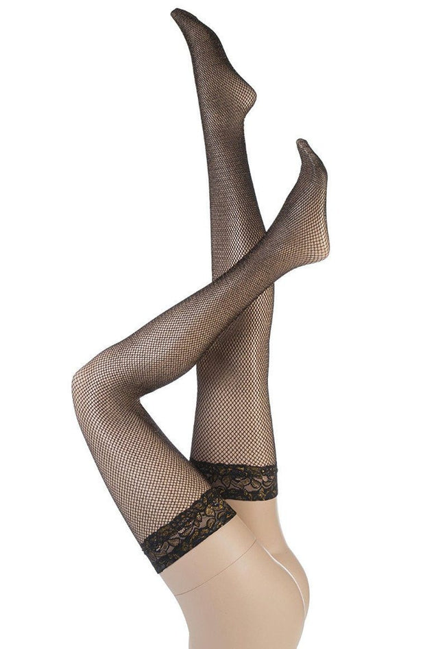 Black & Gold Fishnet Hold Ups with Lace Top