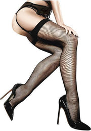 Baci Fishnet Thigh High With Backseam