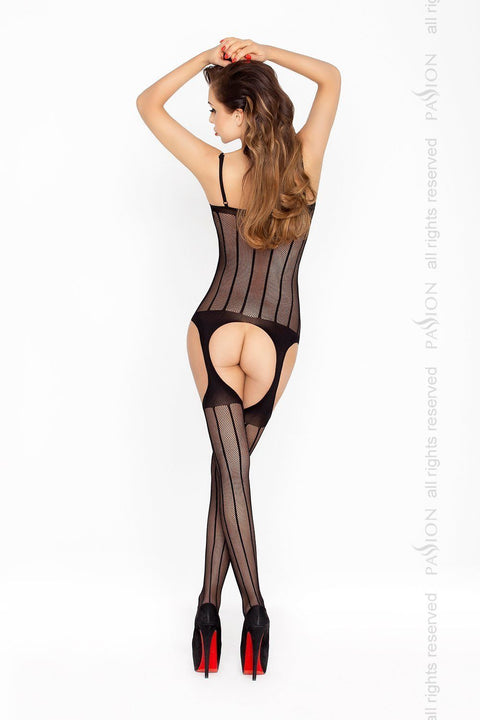 Striped Plunge Bodystocking