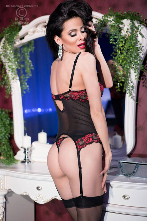 Stunning Black & Rose Bustier with Matching String