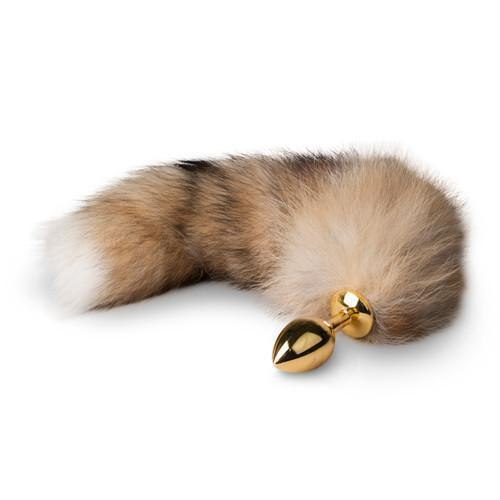 Gold Butt Plug with Fox Tail- Long