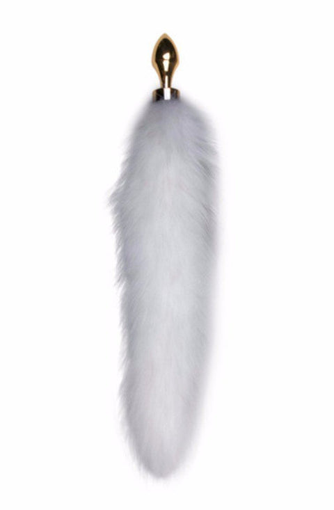 Silver Butt Plug with White Fox Tail-Long