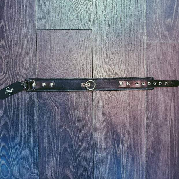 Scandals Bondage Leather Plain Collar With Removable O-Ring