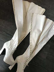White Patent Lace Up Thigh High Boots Size 8