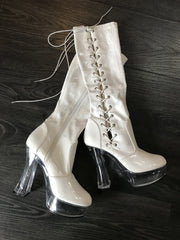 Knee High Lace Up Patent Leather Boots Size 8