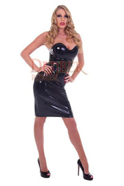 Moulded Latex Strapless Cocktail Dress