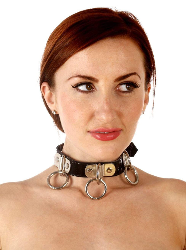 Patent Leather Collar with O-rings
