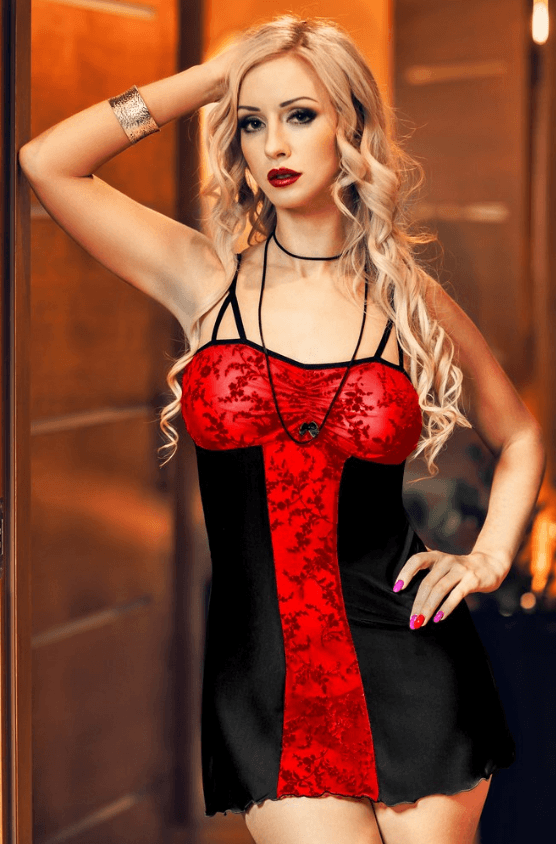 Bridget Black and Red Lace Panel Babydoll