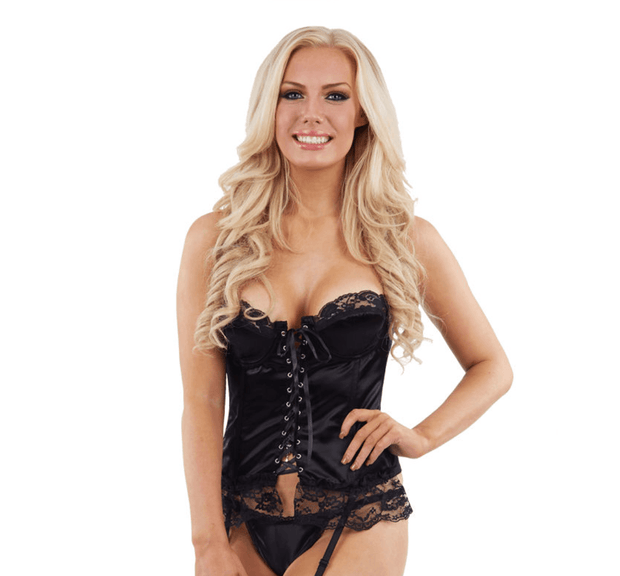 Black Lace Satin Basque & Thong Set