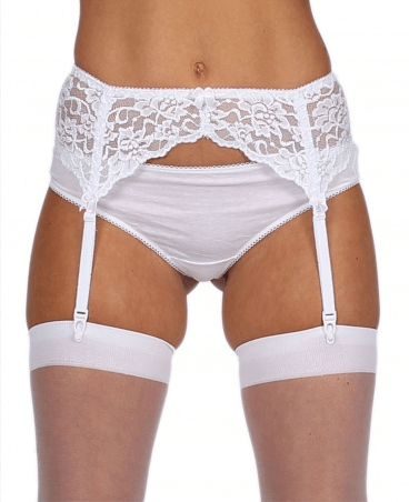 Sunburst White Lace Suspender Belt
