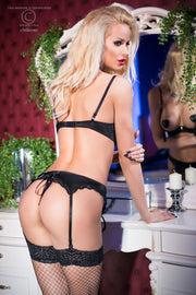 Open Cup Black Satin & Lace Set