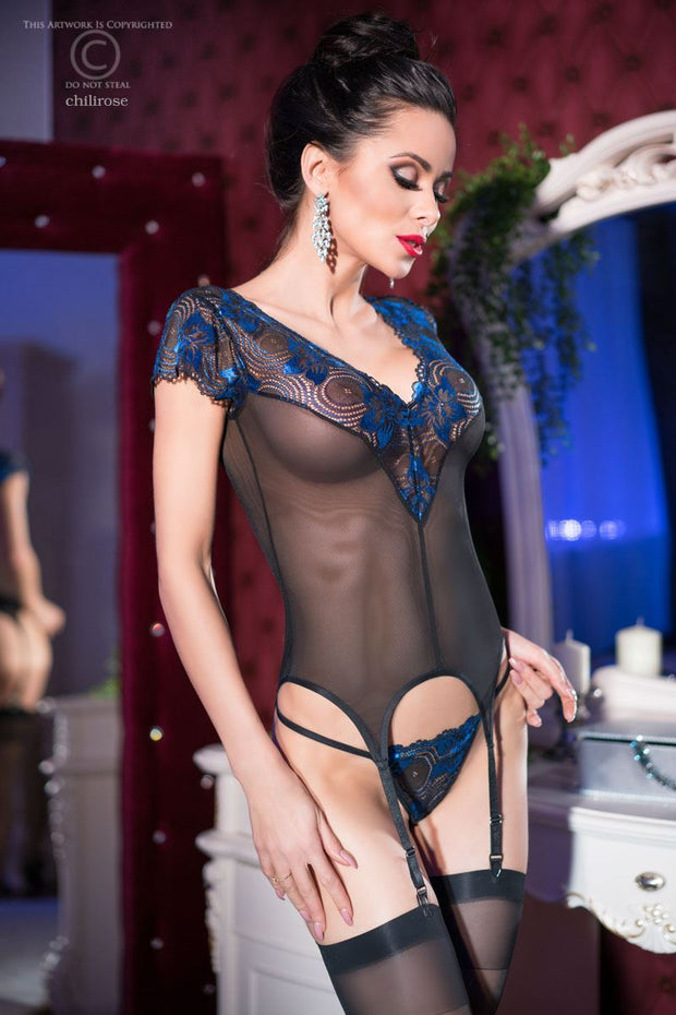 Flirty Blue Metallic Lace Basque Set