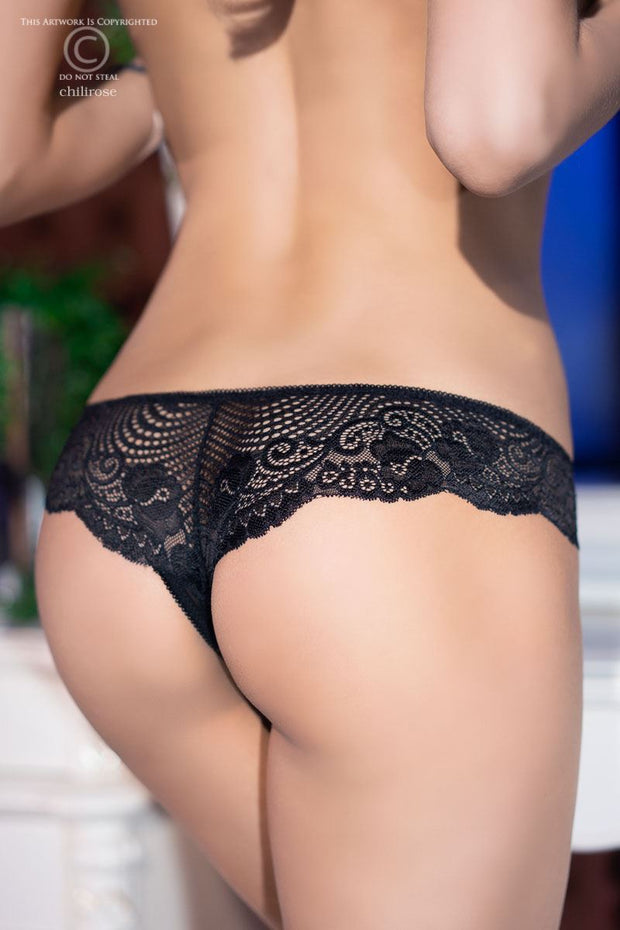 Crotchless Lace Thong - Black