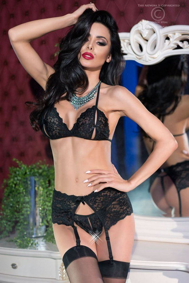 Chili Rose Black Lace Open Tie Bra Set