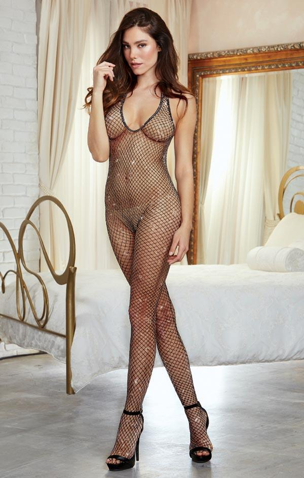 Dreamgirl Metallic Fishnet Bodystocking - One Size