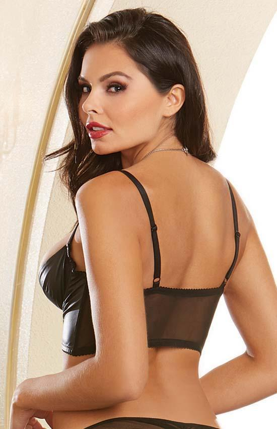 Dreamgirl Faux Leather Underwire Shelf Bustier - Small