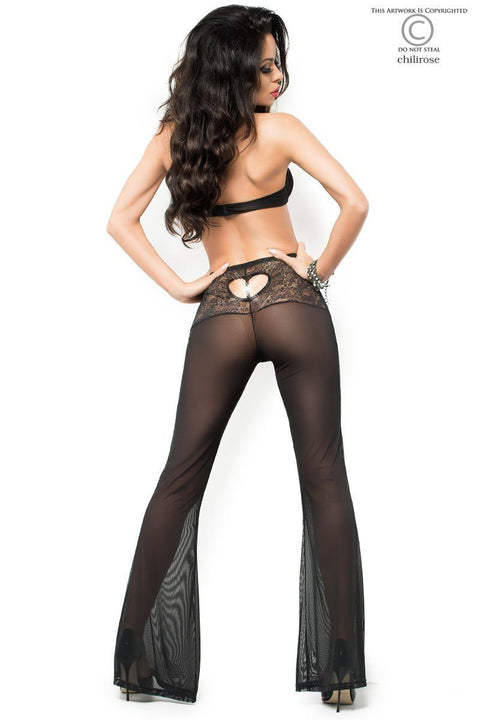 Black Lace Bra & Sheer Pants with Diamante Heart Detail 12-14