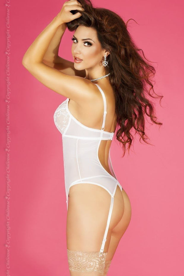 White Lace Diamante Heart Bustier