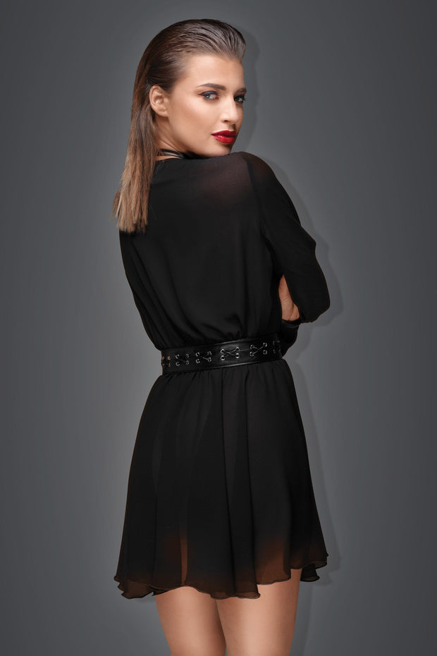 Noir Handmade Chiffon minidress with eco-leather choker and belt