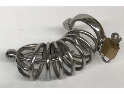 Stainless Steel Male Chasity Cage with Penis Plug