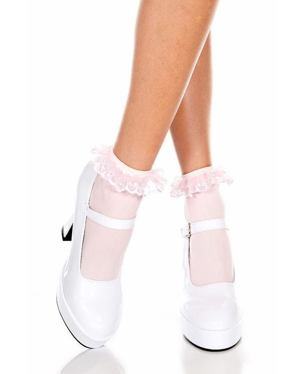 Opaque Ankle Hi Sock With Ruffles