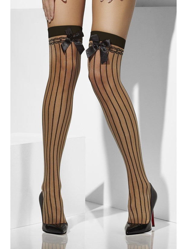 Fever Hosiery Sheer Hold Ups With Vertical Stripes & Bows