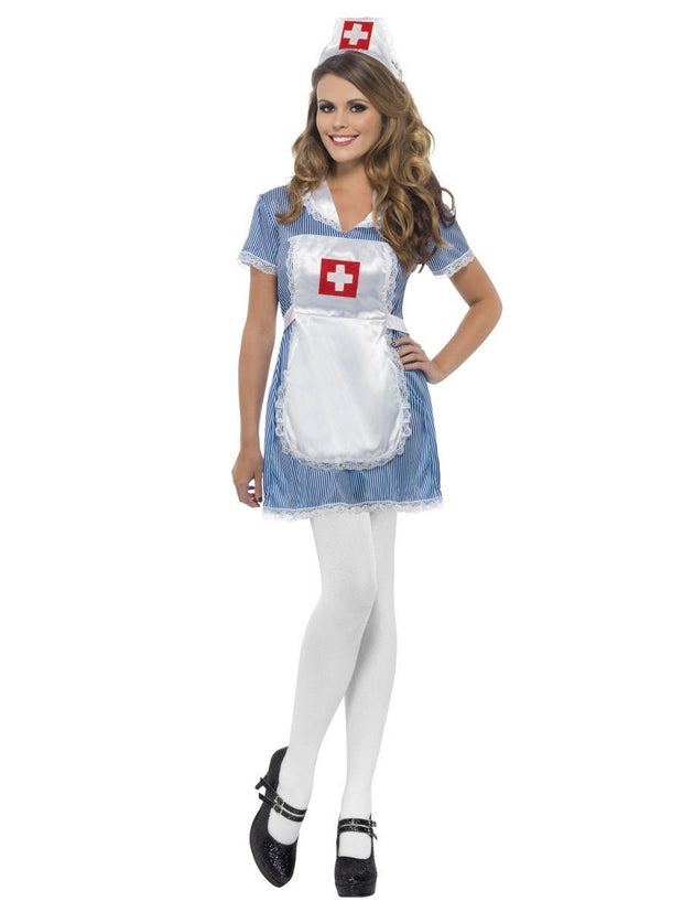 Naughty Nurse Dress, Apron & Headpiece
