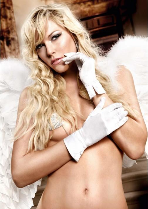 Wrist Length White Satin Gloves