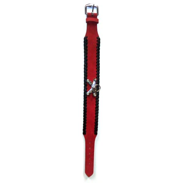 Diavolino Red Leather Spike Collar