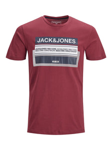 Jack and Jones Starke Kerle Herren T-Shirt Regular Fit Booster Red